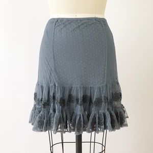 Free People Mesh Polka Dot Gray Fitted Skirt A521
